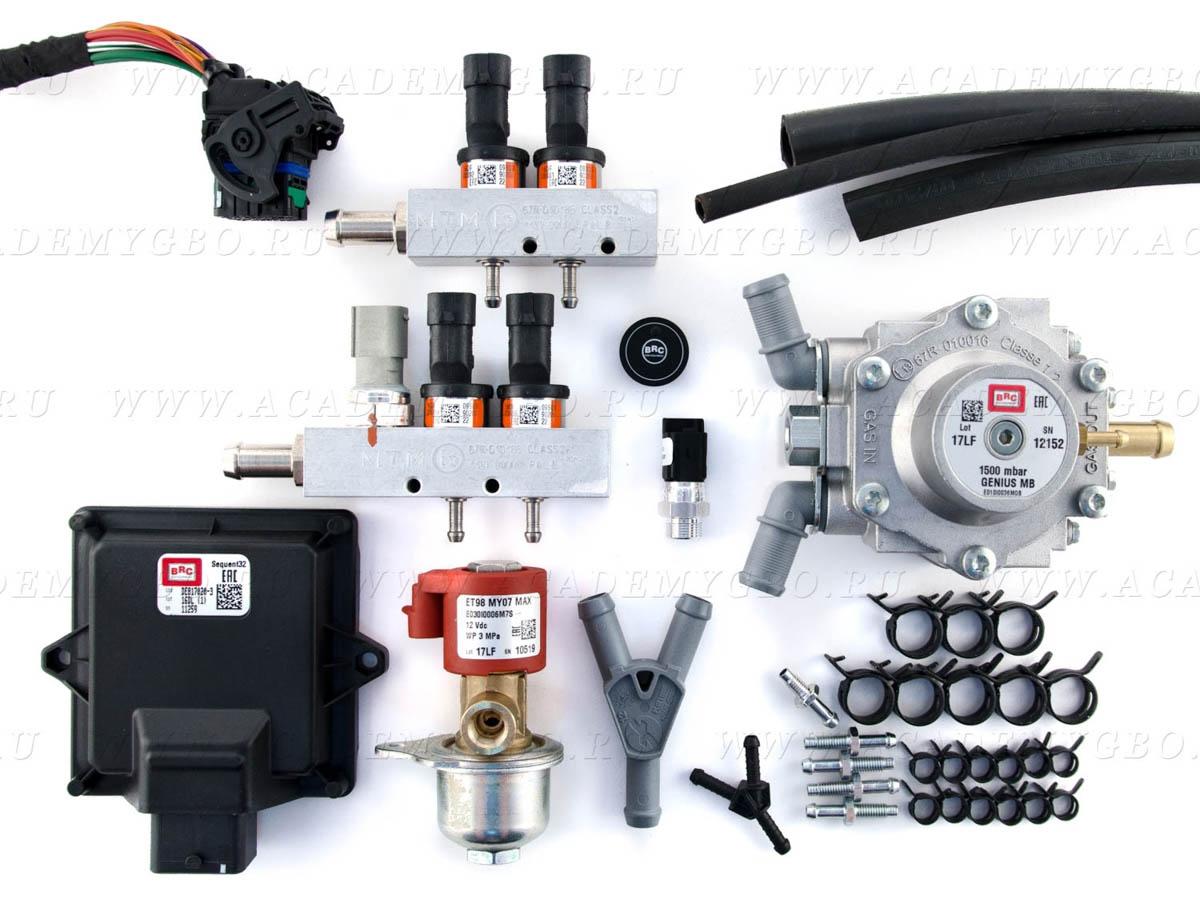 BRC Sequent 32 OBD kit, 4 цил. >100 kW, <120 kW (2х2 оранжевые, G-MB1500), без фильтра