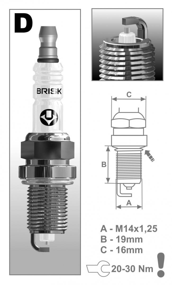 Свеча BRISK DR 15 YS (16-ти клапанный двиг. инж)