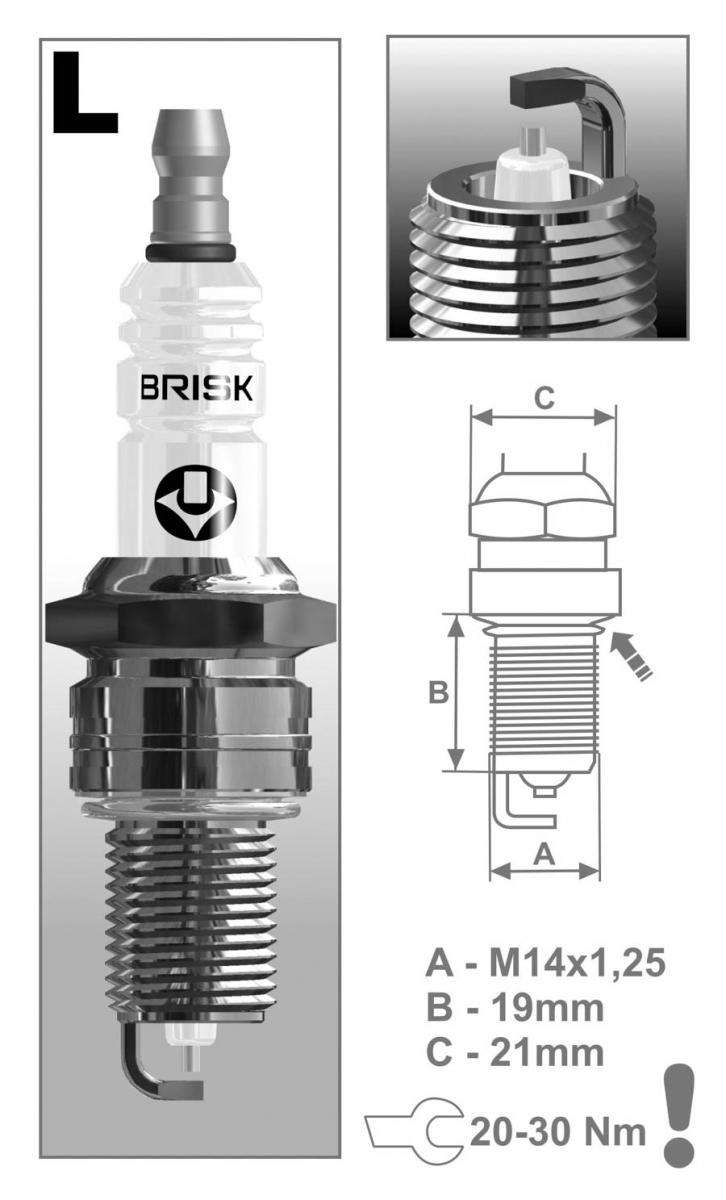 Свеча BRISK LR 15 YS (все ВАЗ карб + 8 кл. инж)