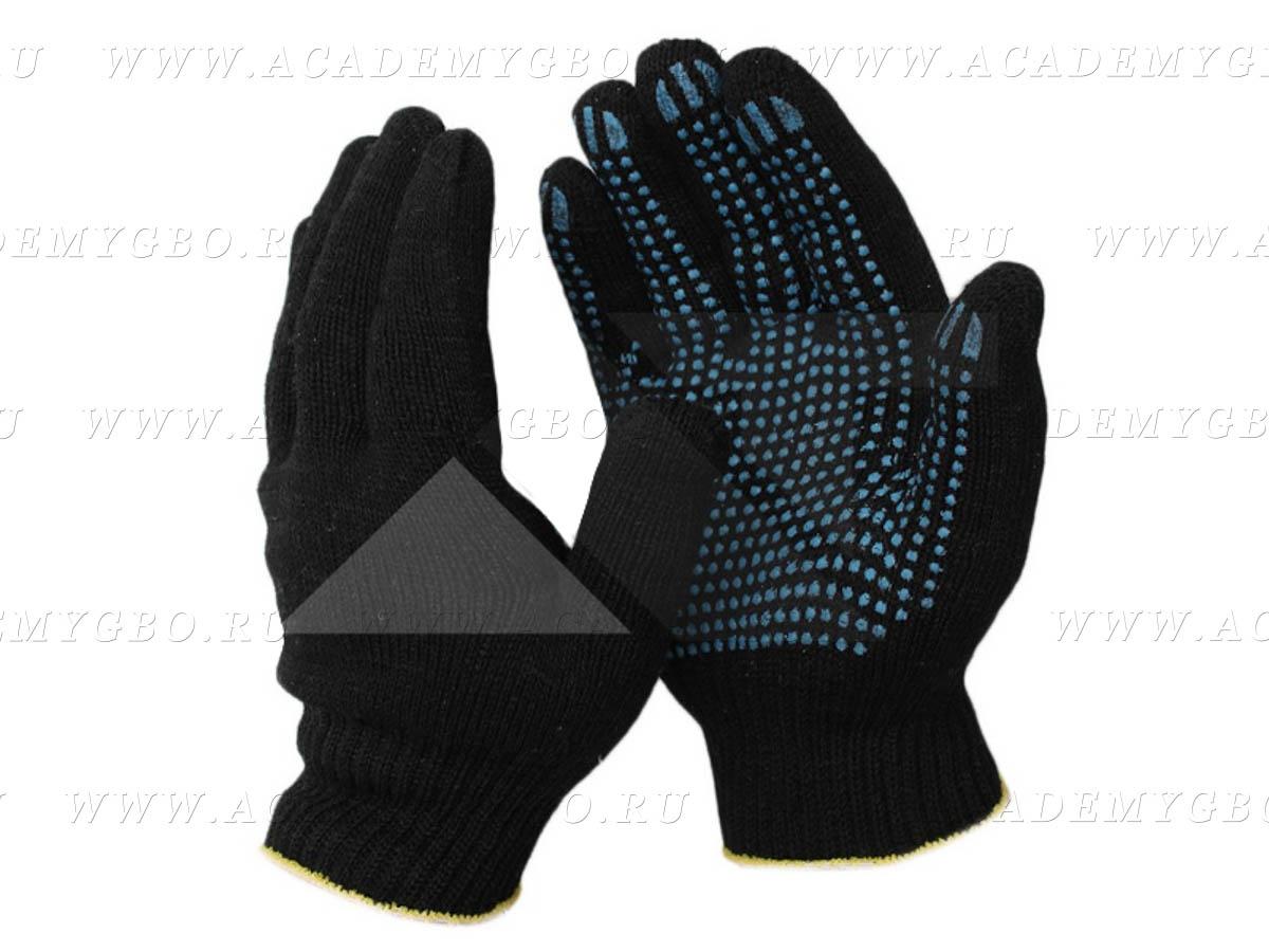 Перчатки 10 класс (6) с ПВХ черные люкс